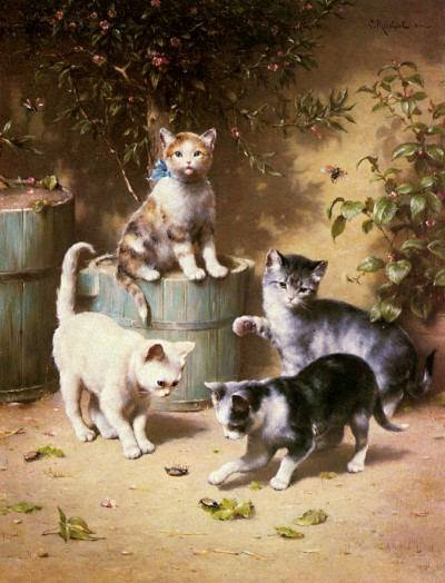 Carl-Reichert-1836-1918-Kittens-Playing-with-Beetles.mini