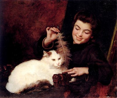 Portrait-Painting-Girl-with-cat-Bail Antoine Jean A Young Girl With A White Catmini