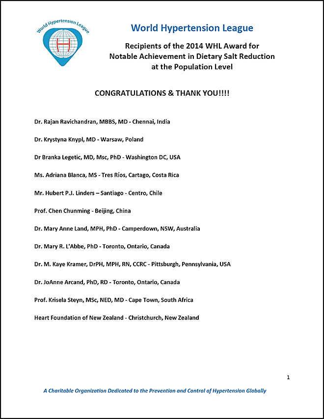 xWHL 2014 Notable Achievement Awardees in Dietary Salt Reduction-2